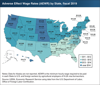 Minimum hourly agricultural wage rates are highest in Washington and Oregon