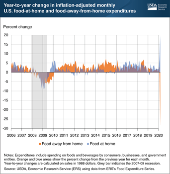 Eating-out expenditures in March 2020 were 28 percent below March 2019 expenditures
