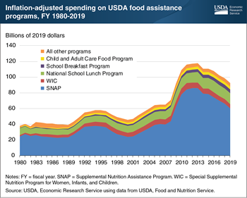 Federal spending on food assistance in fiscal year (FY) 2019 at lowest level since FY 2009