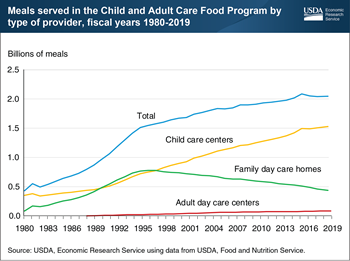 Child care centers accounted for 75 percent of meals provided by USDA's Child and Adult Care Food Program in fiscal year 2019
