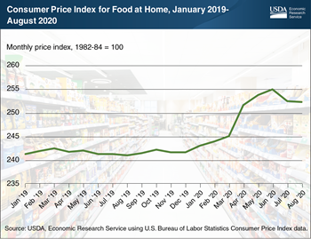 As of August, food-at-home prices in 2020 were above 2019 levels