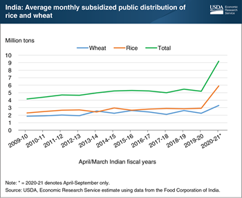India, a major rice and wheat producer, sharply expands subsidized distribution of food grains in response to pandemic