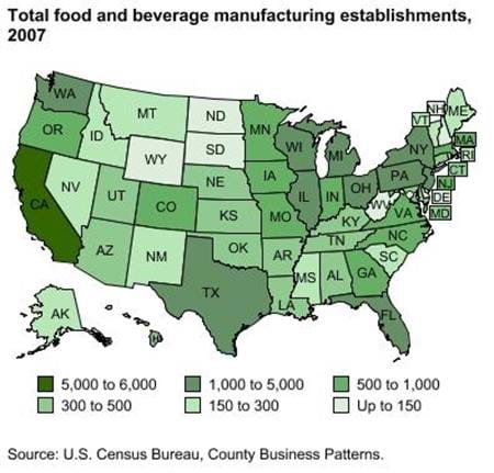 Food and beverage processing plants located across the U.S.