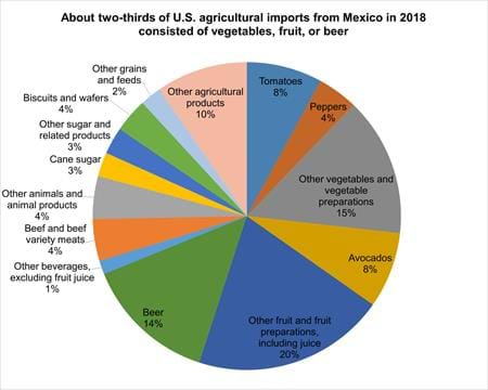 This chart is about two-thirds of U.S. agricultural imports from Mexico in 2018 consisted of vegetables, fruit, or beer