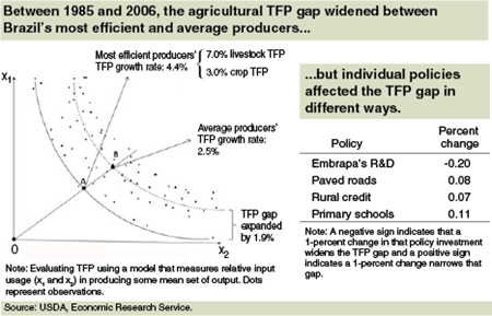 Over 1985-2006, the agricultural TFP gap widened between Brazil's most efficient and average producers...