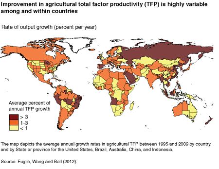 Improvement in agricultural total factor productivity (TFP) is highly variable among and within countries