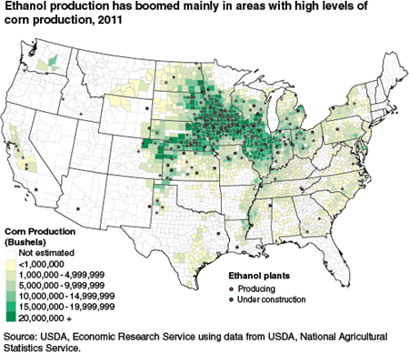 Ethanol production has boomed mainly in areas with high levels of corn production, 2011