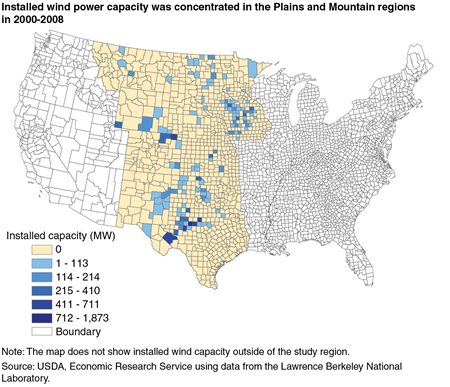 Installed wind power capacity was concentrated in the Plains and Mountain regions in 2000-2008