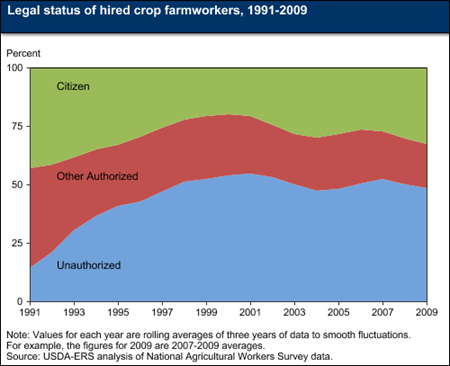 About half of hired crop farmworkers are not legally authorized to work in the United States