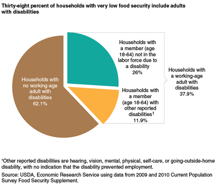 Thirty-eight percent of households with very low food security include adults with disabilities
