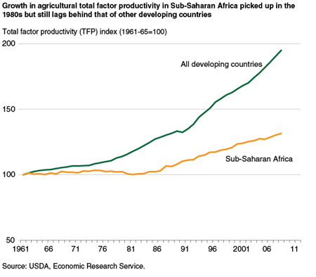 Growth in agricultural total factor productivity in Sub-Saharan Africa has lagged behind that of other developing countries