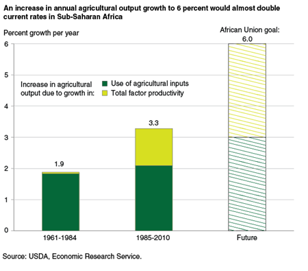 An increase in annual agricultural output growth to 6 percent would almost double current rates in Sub-Saharan Africa