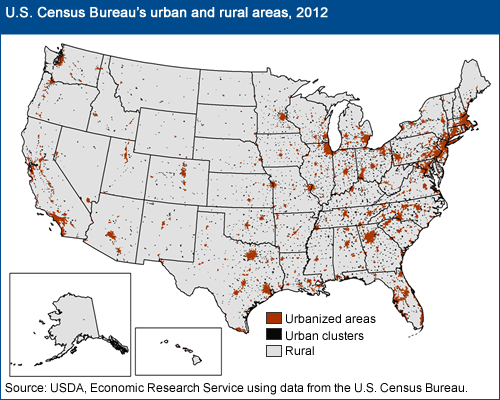 USDA ERS What Is Rural - Map of rural areas in us