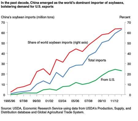 In the past decade, China emerged as the world's dominant importer of soybeans, bolstering demand for U.S. exports