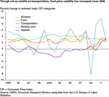 Though not as volatile as transportation, food price volatility has increased since 2006