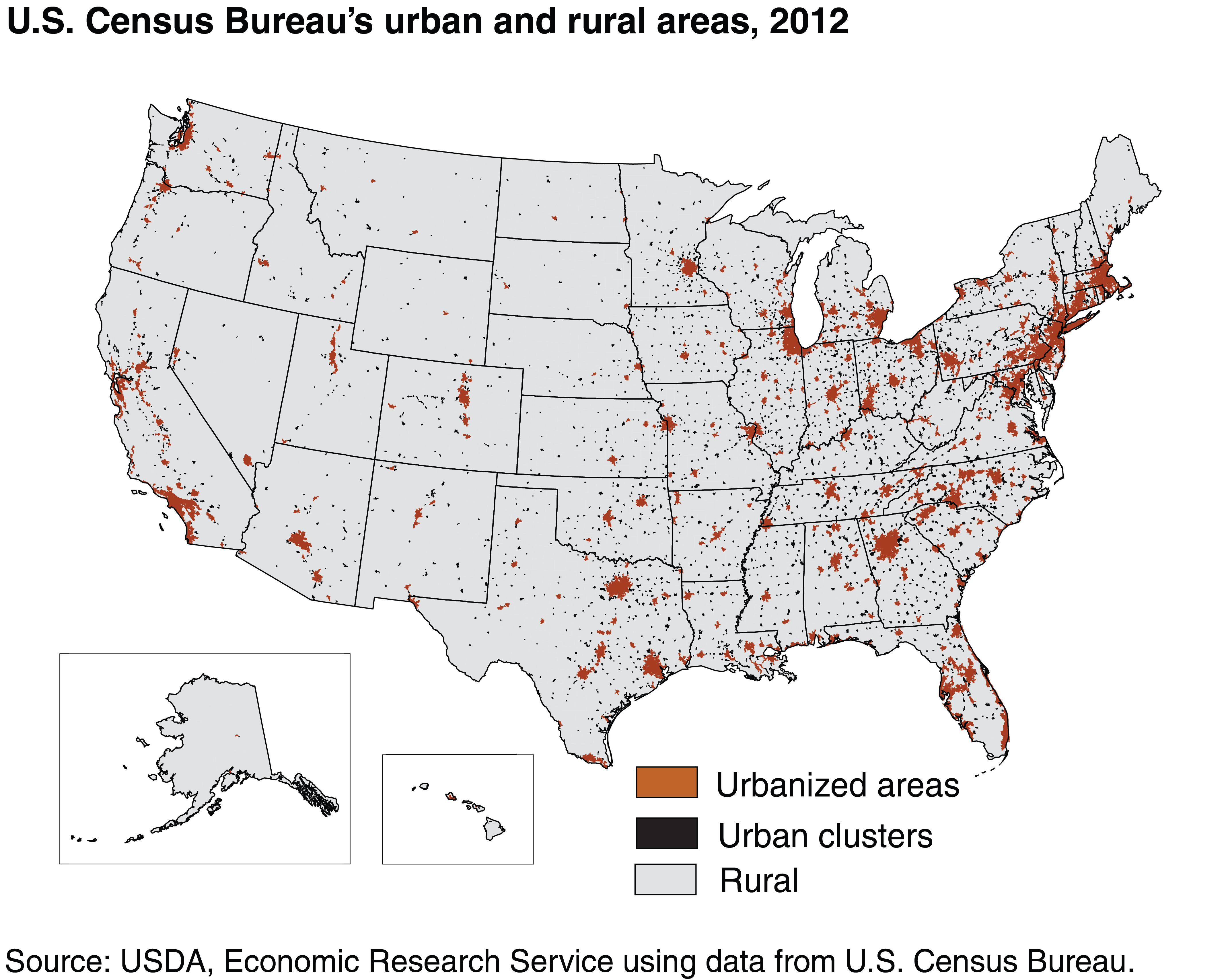 USDA ERS Rural Economy - Map of rural areas in us
