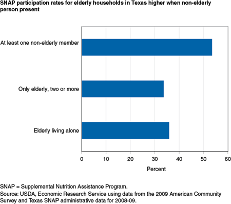 SNAP participation rates for elderly households in Texas higher when non-elderly person present