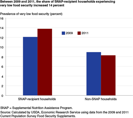 Between 2009 and 2011, the share of SNAP-recipient households experiencing very low food security increased 14 percent