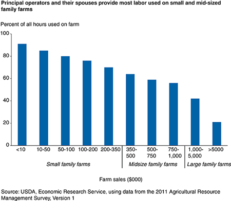 Principal operators and their spouses provide most labor used on small and mid-sized family farms