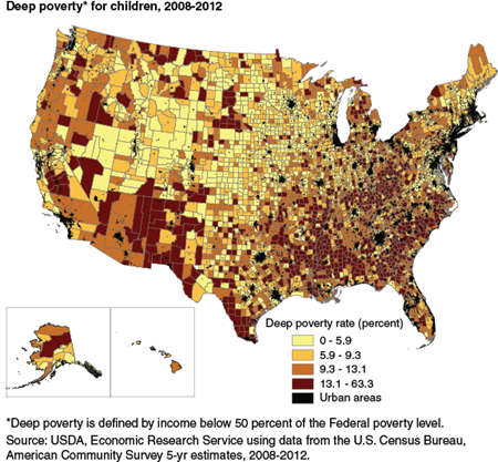 Deep poverty for children, 2008-2012