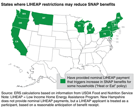 States where LIHEAP restrictions may reduce SNAP benefits