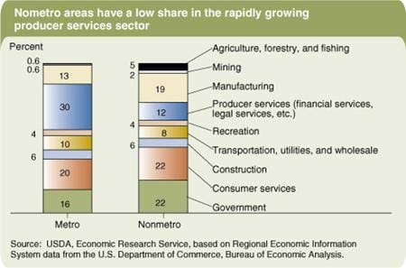 Nonmetro areas have a low share in the rapidly growing producer services sector