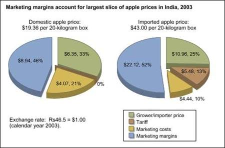 Marketing margins account for largest slice of apple prices in India, 2003