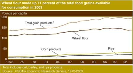 Wheat flour made up 71 percent of the total food grains available for consumption in 2003