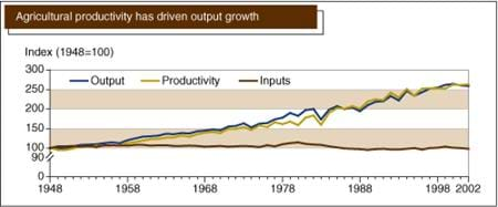 Agricultural productivity has driven output growth