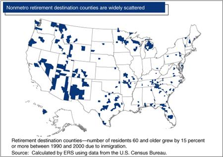 Nonmetro retirement destination counties are widely scattered