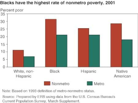 Blacks have the highest rate of nonmetro poverty, 2001