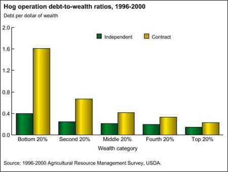 Hog operation debt-to-wealth ratios, 1996-2000