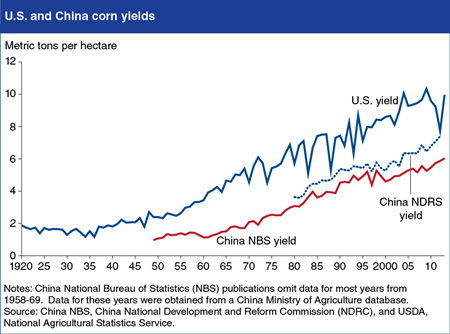China's corn yields continue to lag behind U.S. yields