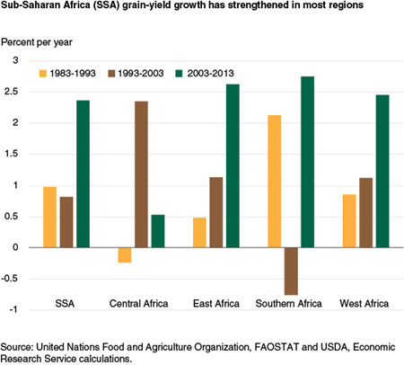 Sub-Saharan Africa (SSA) grain yield growth has strengthened in most regions