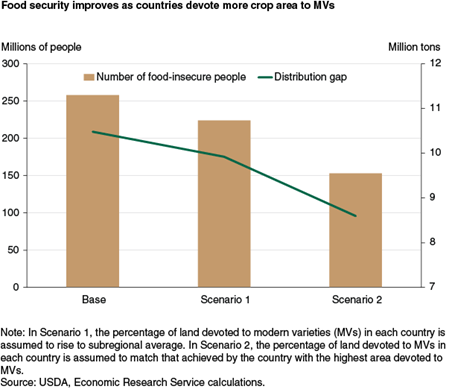 Food security improves as countries devote more crop area to MVs