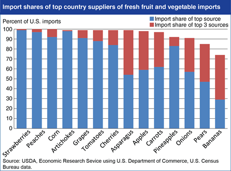 U.S. imports of many fruits and vegetables dominated by few source countries