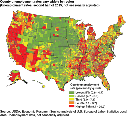 County unemployment rates vary widely by region