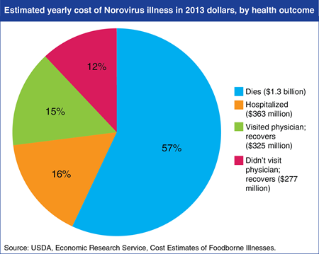 Norovirus ranks 4th among 15 foodborne pathogens in terms of economic burden in the U.S.