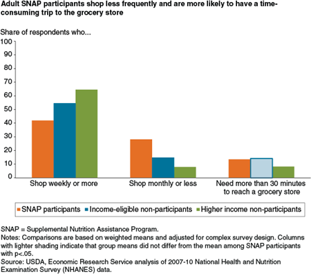 Adult SNAP participants shop less frequently and are more likely to have a time-consuming trip to the grocery store