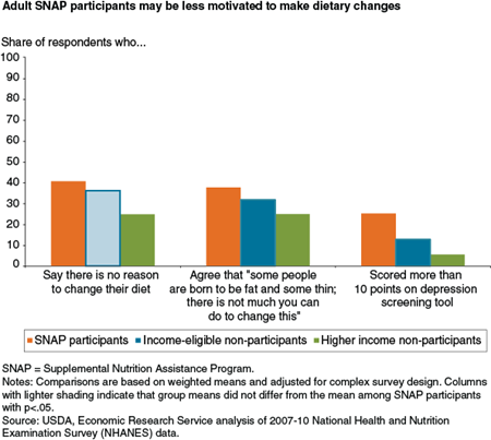 Adult SNAP participants may be less motivated to make dietary changes