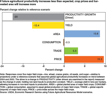 If future agricultural productivity increases less than expected, crop prices and harvested area will increase more