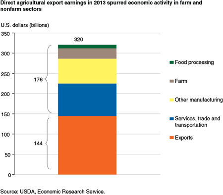 Direct agricultural export earnings in 2013 spurred economic activity in farm and nonfarm sectors