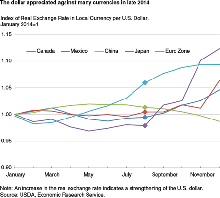 The dollar appreciated against many currencies in late 2014