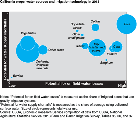 California crops' water sources and irrigation technology in 2013