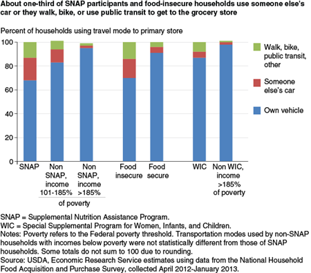 About one-third of SNAP participants and food-insecure households use someone else's car or they walk, bike, or use public transit to get to the grocery store