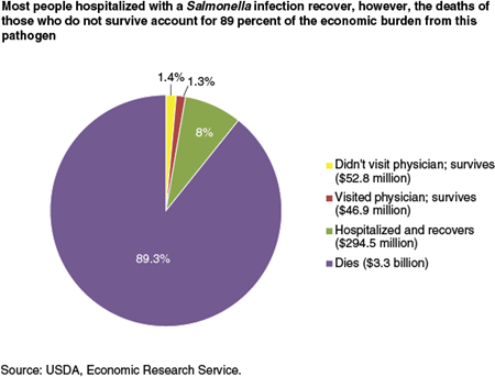 Most people hospitalized with a Salmonella infection recover, however, the deaths of those who do not survive account for 89 percent of the economic burden from this pathogen