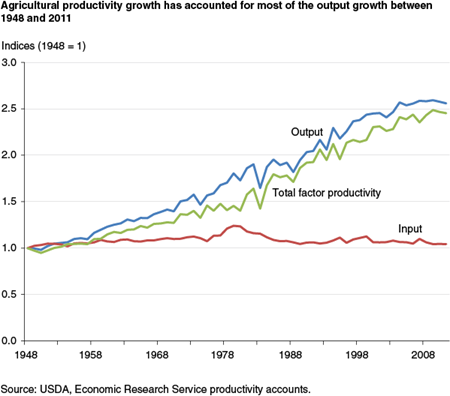 Agricultural productivity growth has accounted for most of the output growth between 1948 and 2011