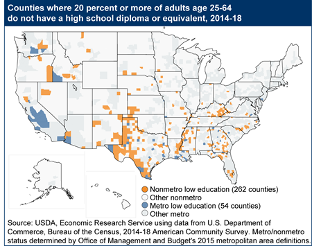 Counties where 20 percent or more of adults age 25-64 do not have a high school diploma/equivalent, 2014-18