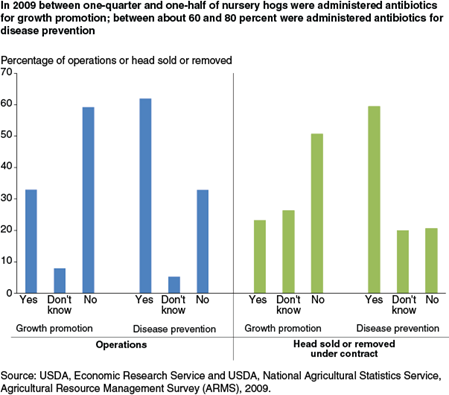 In 2009 between one-quarter and one-half of nursery hogs were administered antibiotics for growth promotion; between about 60 and 80 percent were administered antibiotics for disease prevention