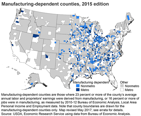 Manufacturing-dependent counties, 2015 edition
